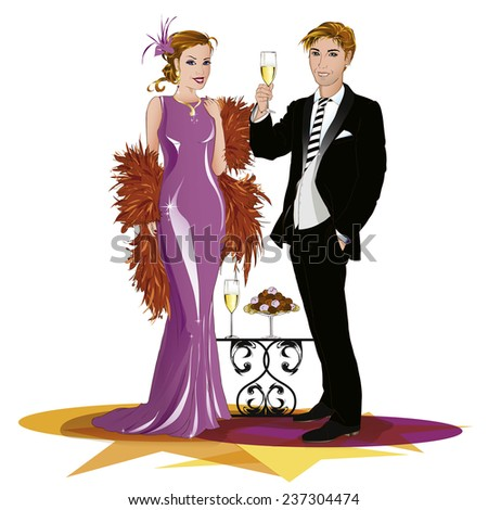 Couple wearing beautiful evening wear, drinking to something. The man is smiling at you by raising a glass of champagne. The woman is standing beside him. Every part is isolated and can be move. - stock vector