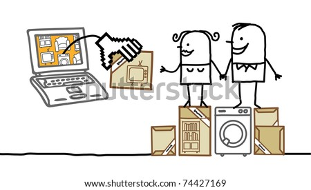 couple with laptop purchasing furniture on line - stock vector