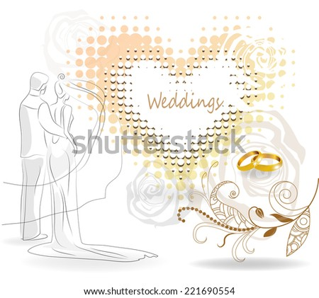 Couple with wedding rings background - stock vector