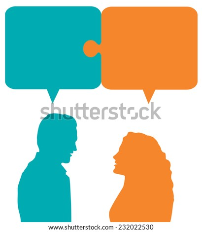 couple working together - vector illustration - stock vector