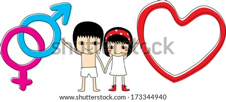 Couple wtih heart ,male and female symbol - stock vector
