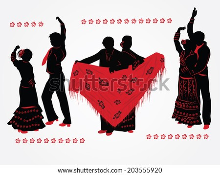 Couples dancing flamenco. Red and black silhouettes on white background. - stock vector