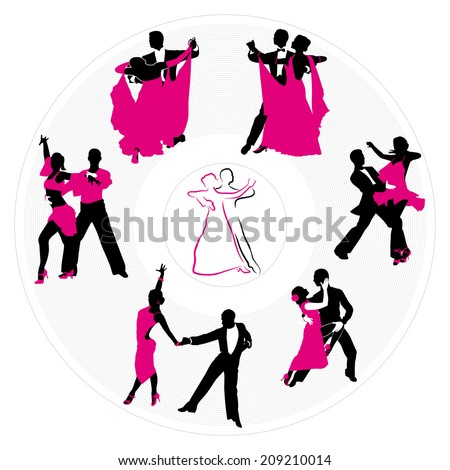 couples dancing on the background of a circular plate - stock vector