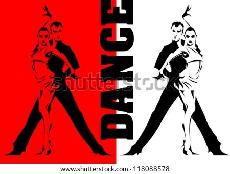couples dancing sports dancing (vector illustration); - stock vector