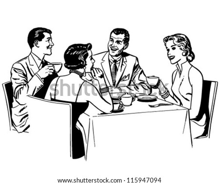 Couples Dining - Retro Clipart Illustration - stock vector