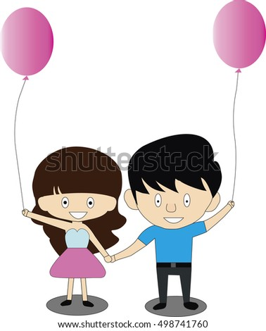 Couples holding balloons