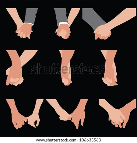 Couples holding hands, vector