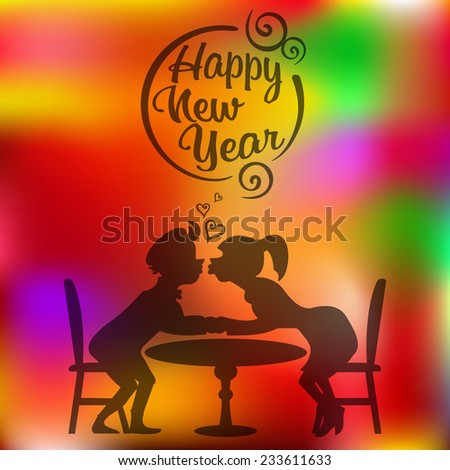 couples in love on blurred background. Happy New Year