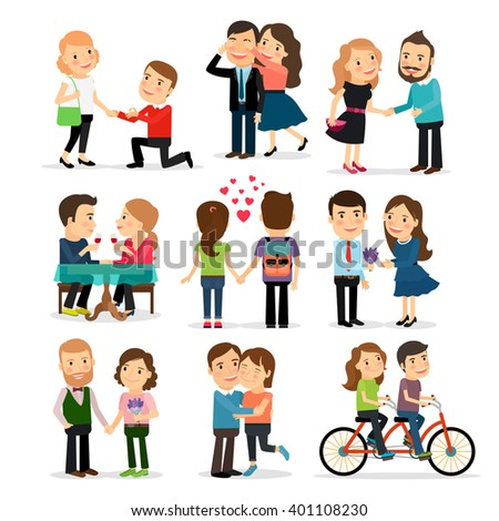 Couples in love set. Lovers man and woman in love vector illustration - stock vector