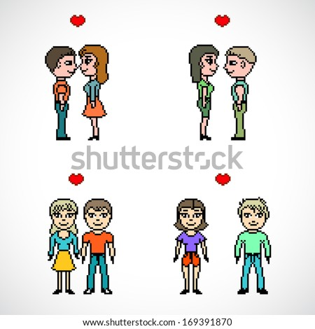 couples of people with heart pixel art vector - stock vector