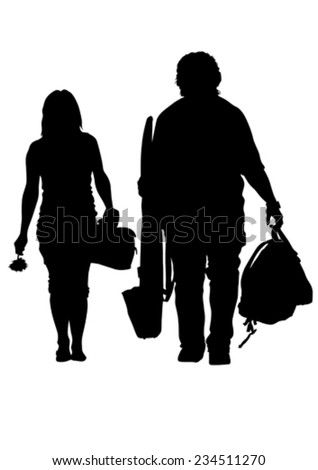 Couples people whit bag on white background - stock vector