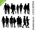 Couples silhouettes vector - stock vector