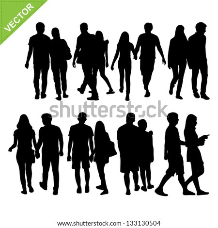 Couples silhouettes vector