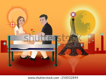 couples sitting in Paris on an orange background. - stock vector