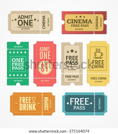 Coupon and Tickets Set. Free Labels. Vector illustration - stock vector