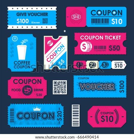 Coupon Gift Voucher Ticket Card Element Stock-Vektorgrafik 666490414 ...