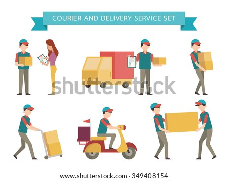 Courier and delivery set. Simple character with flat design style.  - stock vector