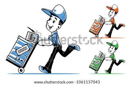 courier delivery large cargo quickly accurately stock vector
