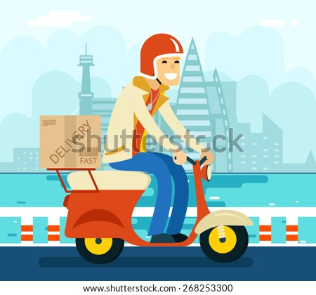 Courier Delivery on Scooter Symbol Icon Concept City Sky Background Flat Design Vector Illustration - stock vector