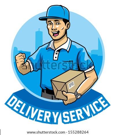 courier man service - stock vector