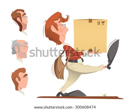Courier postman holding and carrying carton cardboard box. Delivery service color vector illustration. - stock vector
