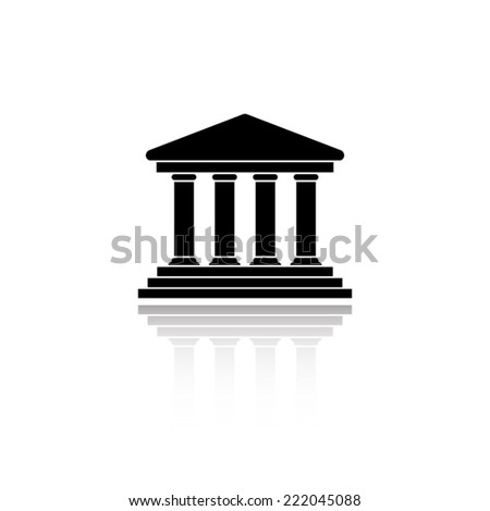 Court Building icon - black vector illustration with reflection - stock vector