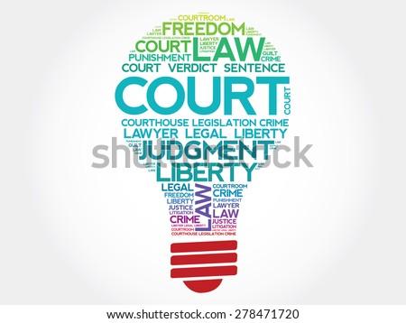 Court bulb word cloud concept - stock vector
