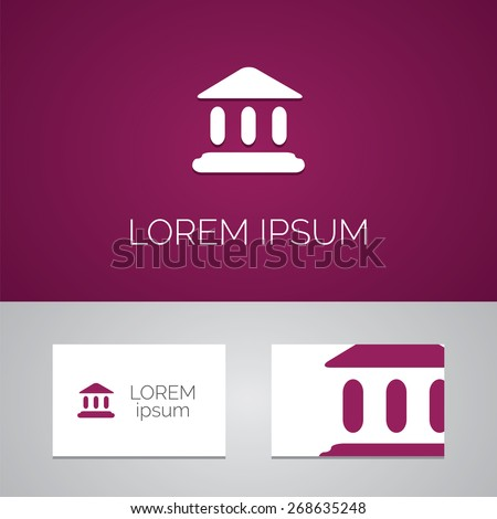 court law logo template icon design elements with business card   - stock vector