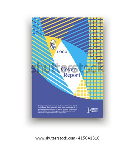 Cover A4 of intersecting ellipses, yellow, blue, light blue colors with different types of shading. Brochure template layout. title sheet. analytic publication. creative vector art. report. colorful.