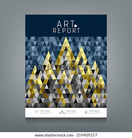 Cover annual report, Architecture concept colorful triangles geometric design, blue dark and gold abstract background, vector illustration