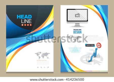 Cover Annual report brochure flyer design template front and back. Abstract Modern Backgrounds, Infographic Concept. Vector illustration. Use for cover magazine, presentation , printing advertising. - stock vector