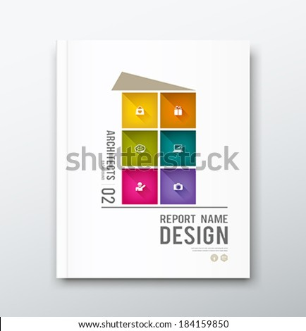 Cover annual report colorful building graphic design background, vector illustration - stock vector