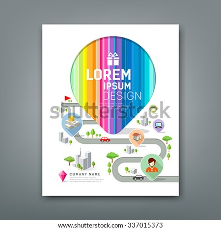 Cover Annual report colorful map pointer create design on white background, vector illustration
