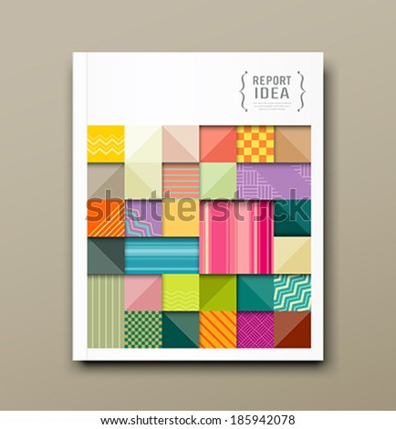 Cover annual report, colorful pattern fabrics square design background, vector illustration - stock vector