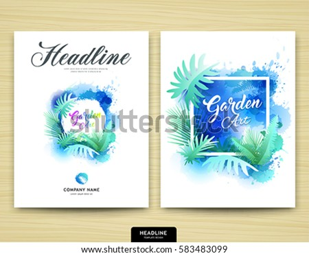 cover annual report garden design leaf tree nature water color style brochure template layout - Garden Design Template