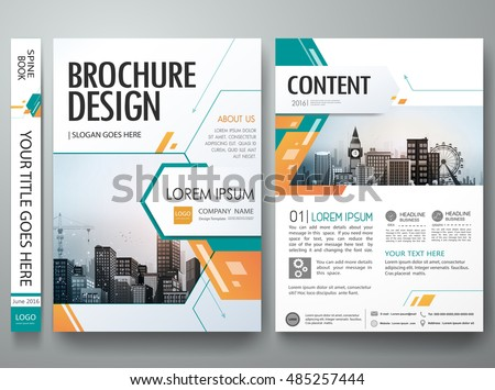 Cover book portfolio presentation brochure design template vector.Green abstract shape poster portfolio layout design.City design on A4 brochure.Business flyers report magazine poster layout template.