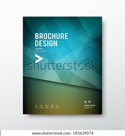 Cover brochure abstract triangle design blue background, template design, vector illustration - stock vector