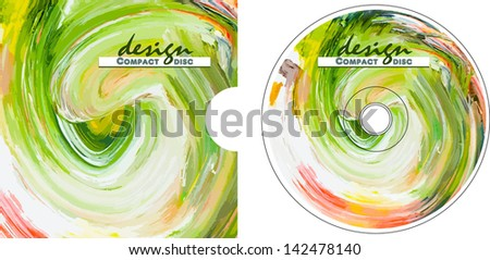 Cover CD disk painted with oil paints. Vector format. - stock vector
