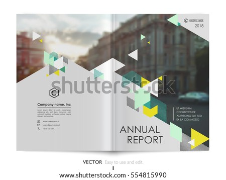 Cover design annual report,vector template brochures, flyers, presentations, leaflet, magazine a4 size. Green, yellow and lime polygons on a grey background