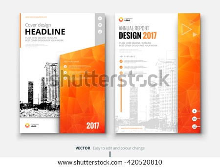Cover design for Annual Report, Catalog or Magazine, Book or Brochure, Booklet or flyer. Layout template in A4 with triangular elements. Creative concept in bright colors. Vector Illustration - stock vector