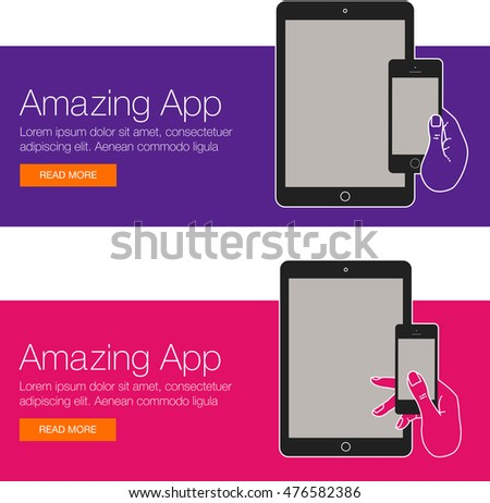 Cover design app website template mobile stock vector 476582386 cover design of app for website template mobile app smartphone mobile cell phone pronofoot35fo Image collections