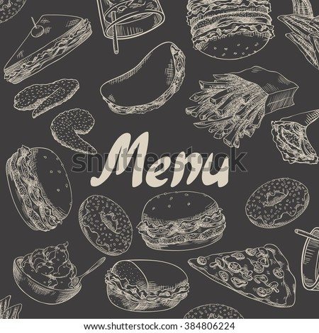 Cover for menu. Fast food. Burgers, fried chicken wings, french fries, donuts, sandwiches, wraps, pita, pizza, soda, ice cream.