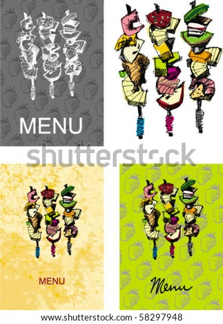cover for menu - right size A4 - A3... handmade sketch based. - stock vector