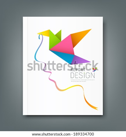 Cover Magazine colorful origami birds with ribbon shape face design background, vector illustration - stock vector