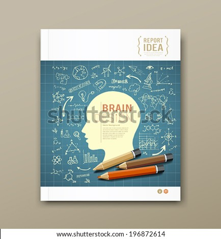 Cover Magazine Sketch hand drawn science icons colorful pencil design blue background, vector illustration