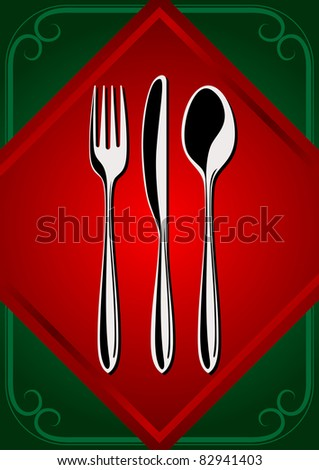 Cover menu: place setting - forks, spoon; and knifes on the green background