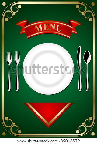 Cover menu: place setting - plate, forks, spoon and knifes on the green background