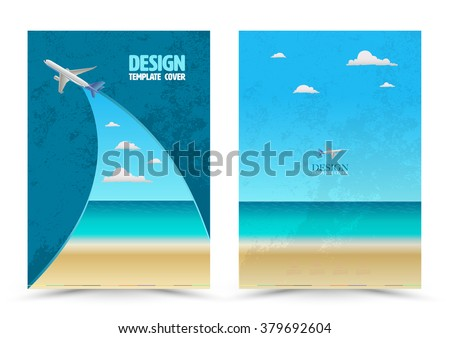 Cover page layout template with airplane. Vector illustration. Can use for travel tour concept Leaflet, brochure, book, magazine, document template and business report cover. - stock vector
