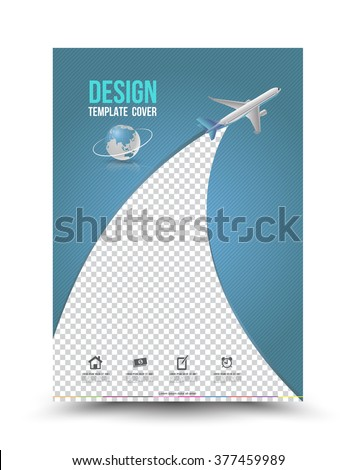 Cover Page Layout Template Paper Airplane Stock Vector 377459989