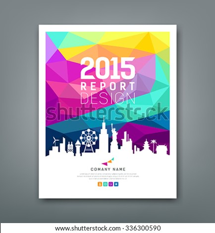 Cover report colorful geometric shapes with silhouette landmarks design background, vector illustration